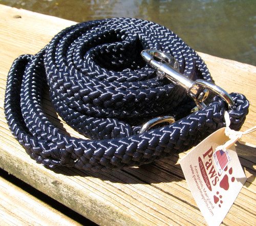 Navy blue flat braid boating line leashes feel great in your hand.