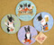 Each dog and crab coaster set contains a trio scene and 3 individual entertaining dog poses.