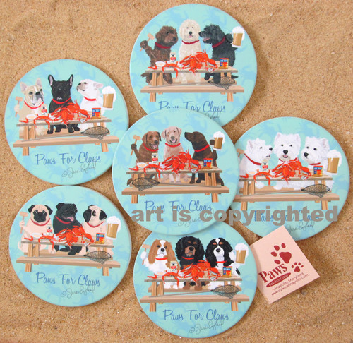 Your Dog Breed with Crabs is featured on a set of 4 Dog Coasters