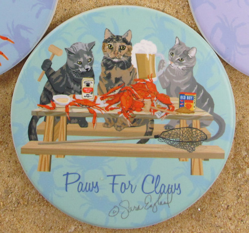 Crabby cat coasters are designed by a U.S. artist.