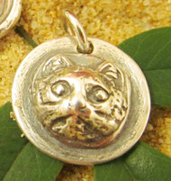 Fine Silver Cat Charm with Historical Charm