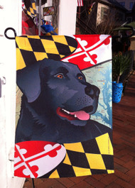 Garden Size Black Lab Maryland Flag.