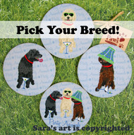 Your Dog Breed is featured on a set of 4 Party Animal Dog Coasters!