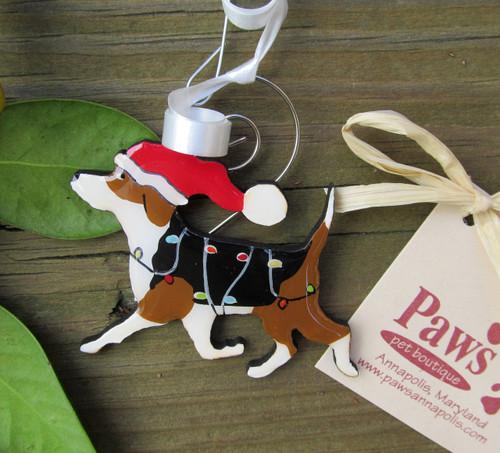 Prancing Beagle Christmas Ornament