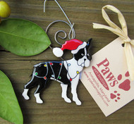 Hand-painted Boston Terrier Holiday Ornaments made in USA