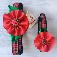 Red Plaid Flower Dog Collars