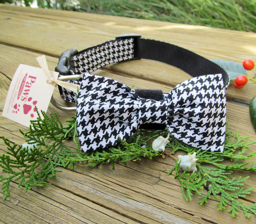 Dapper Bow-tie Dog Collar in Houndstooth Fabric