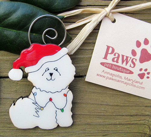 Santa Bichon Christmas Ornaments made in USA.