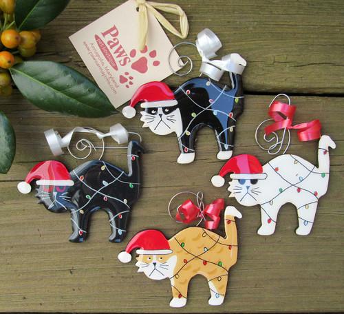 Handmade Cat Christmas Ornaments