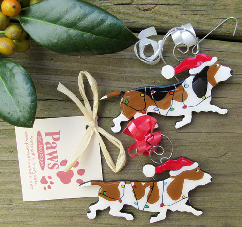 Hand-painted Basset Hound Christmas Ornaments made in USA