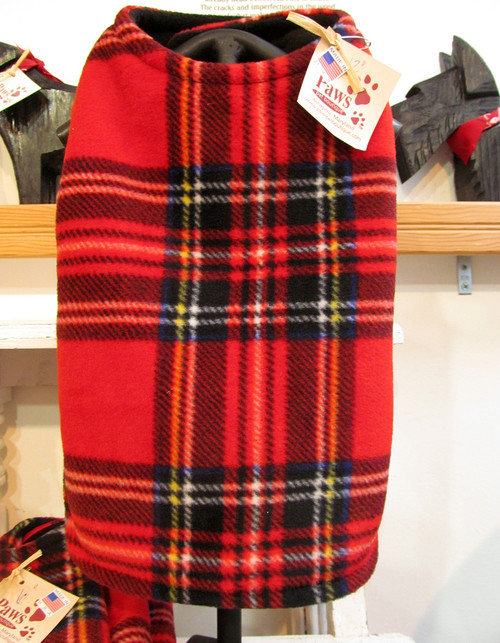 Red Plaid Fleece Dog Coats Sewn in USA