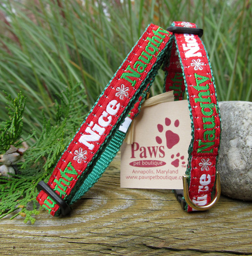 Naughty Nice Cat Collars with Breakaway Buckle for Safety.