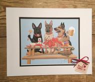 German Shepherds and Crabs Art Print