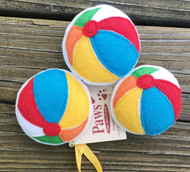 Organic Catnip Beach Ball Cat Toys. Image shows 3 toys.