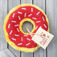 Red Donut No-Stuffing Dog Toy