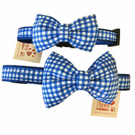 Blue Check Dog Bow Tie Collars