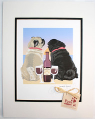 Pug Art - Sunset, Dogs and Wine