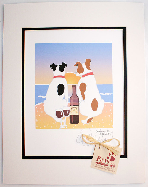Jack Russell Art - Dogs and Wine