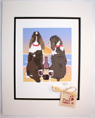 Liver and White Springer Spaniel Art - Sunset/Dogs and Wine