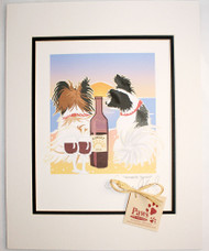 Papillon Art - Beach Sunset, Dogs and Wine