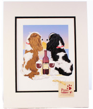 Cavalier King Charles Wine and Sunset Print