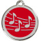 Red Enamel Musical Note ID Tag for Pets