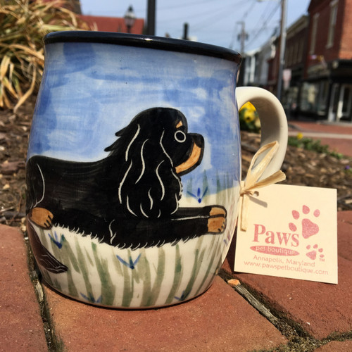 Black and Tan Cavalier King Charles Hand-painted Mug