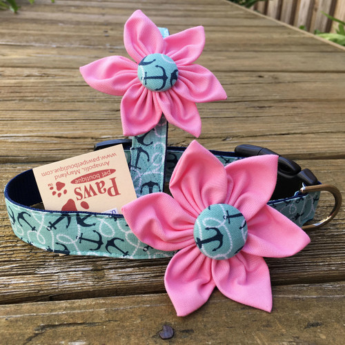 Soft Pink Flower Designer Collar
