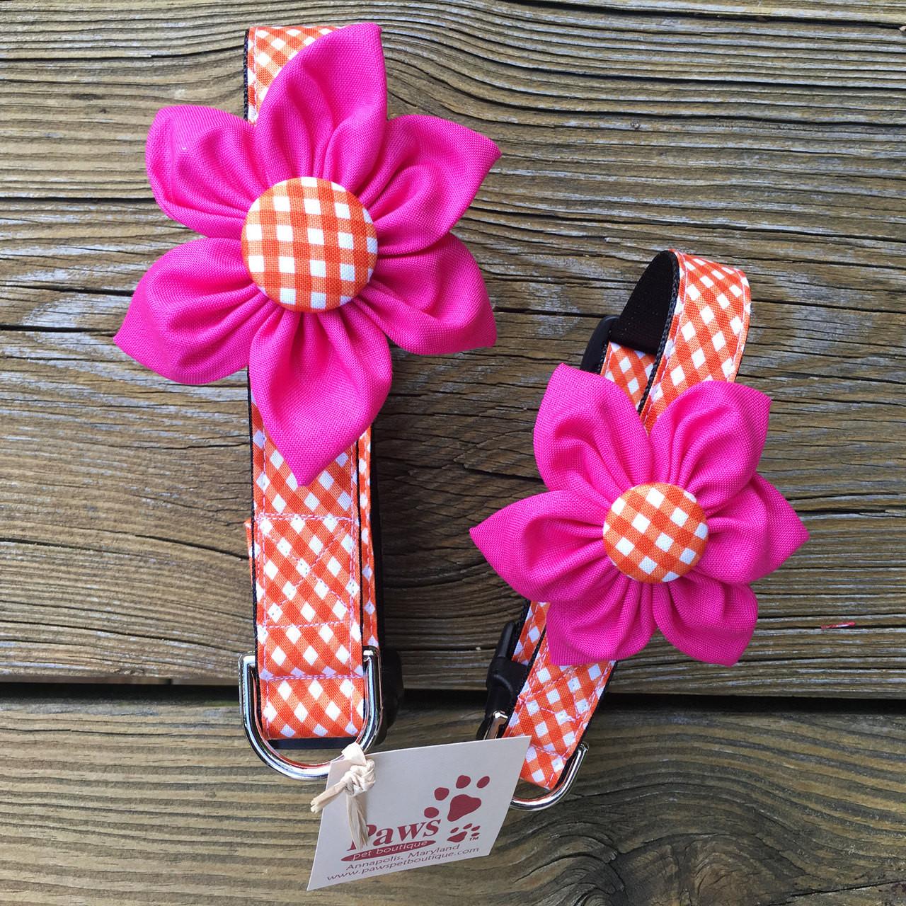 Orange Checked Pink Flower Dog Collar Designer Dog Collar Made In Usa