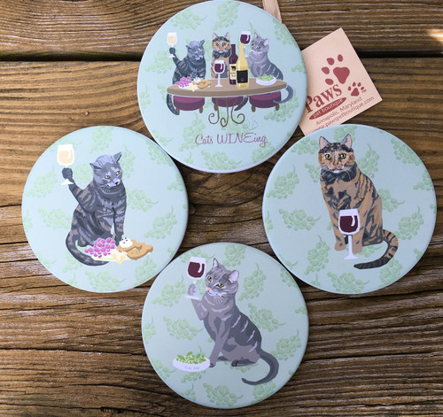 Cats Wineing Coaster Set
