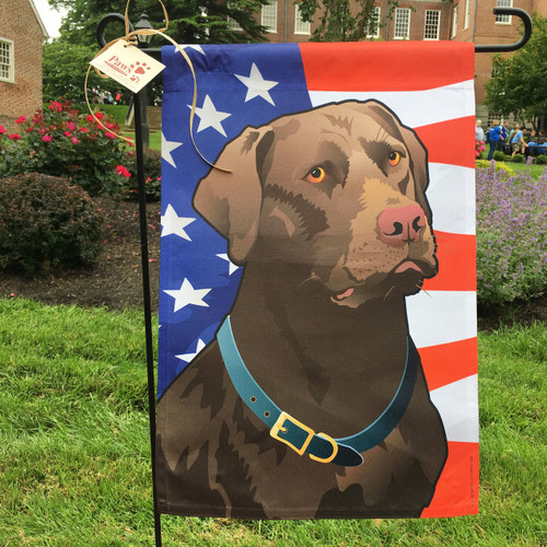 Charmant Stars And Stripes Chocolate Lab Flag