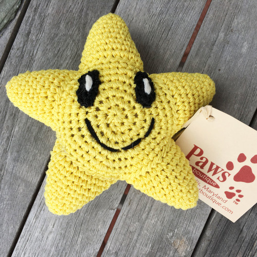 Crochet Yellow Star Dog Toy