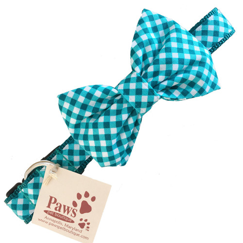 Green Jade Bow Tie Dog Collar