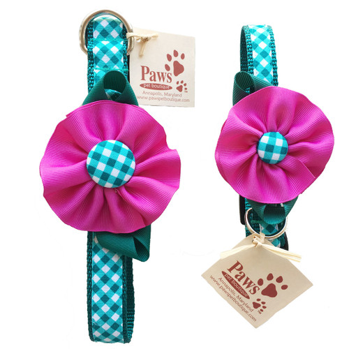 Green Check Dog Collar with Pink Flower