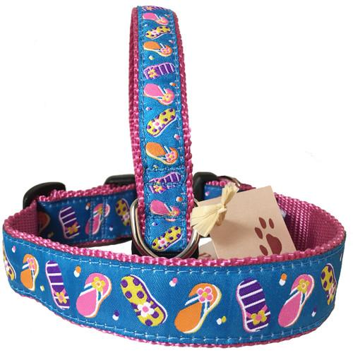 Blue Flip Flop Dog Collar