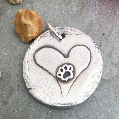 Handmade Silver Charm holds Pet's Fur
