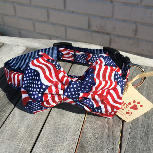 American Flag Bow Tie Collar for Your Dog