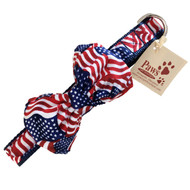 All American Flag Dog Bow Tie Collar
