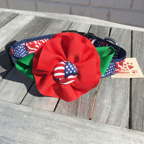 American Flag Collar with Removable Flower