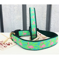 Pink Flamingo Dog Collars with a Splash of Palms
