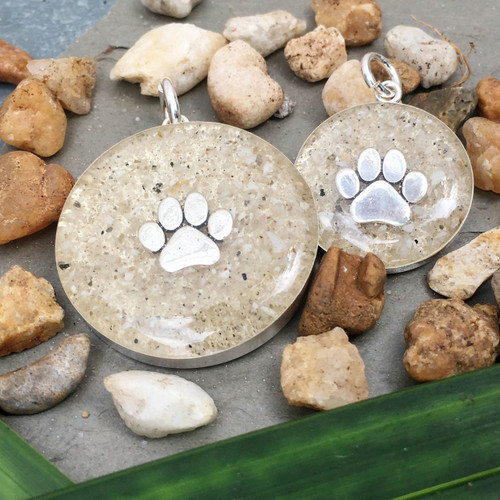 Silver Paw Charms with Sand
