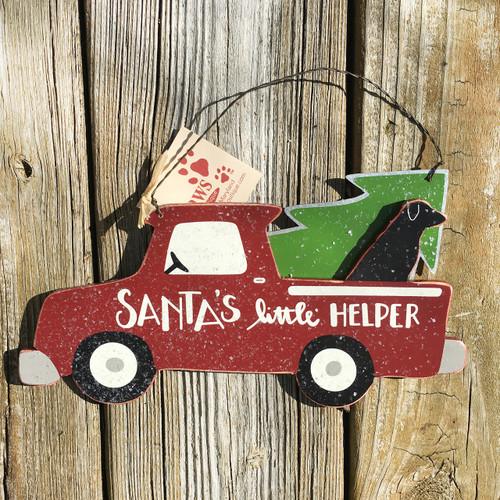 Santa's Little Helper Black Dog Christmas Sign