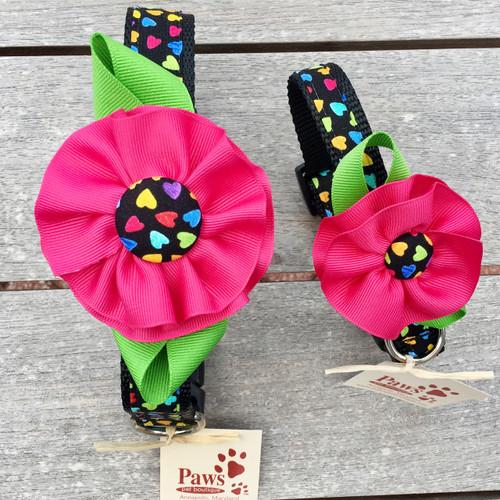 Pink Flower Heart Dog Collars