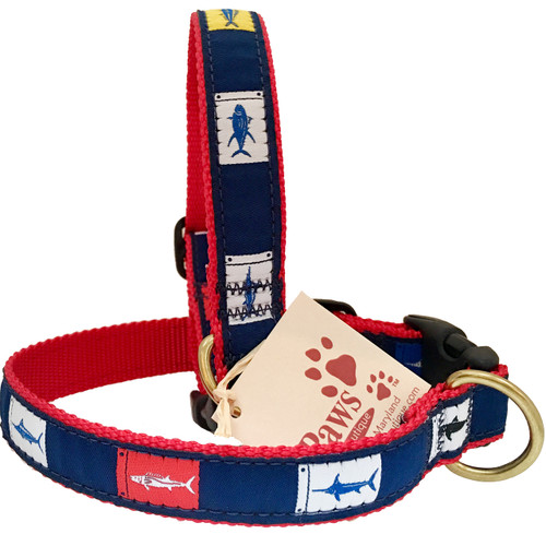 Fish Flags Dog Collars