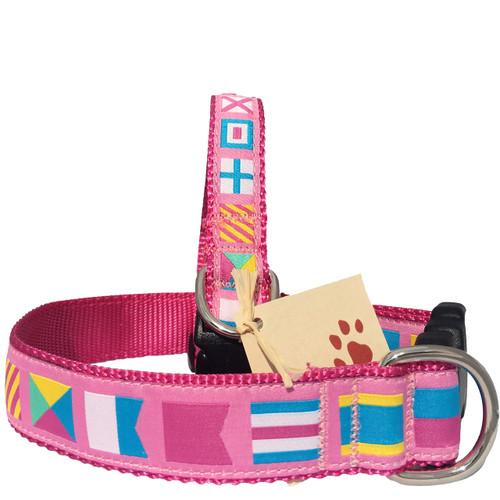 Pink Nautical Flag Dog Collars