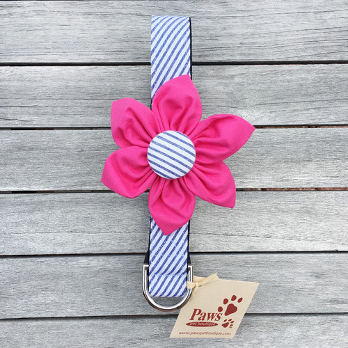 Detachable Pink Flower Striped Dog Collar