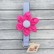 Detachable Pink Flower Striped Dog Collar