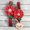 Red Sparkle Flower Bling Dog Collars