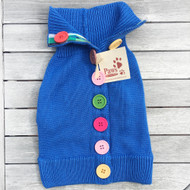 Blue Big Button Stylish Dog Sweater