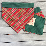 Red Plaid Reversible Dog Bandannas